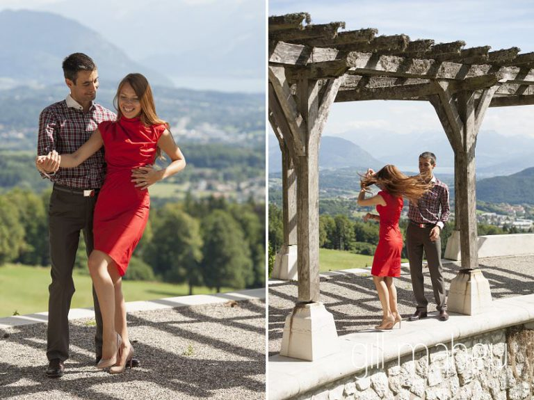 lifestyle portrait of couple dancing salsa in fro,nt of amazing view at Chateau d'Avenieres near Annecy by Gill Maheu Photography, photographe de mariage et de famille
