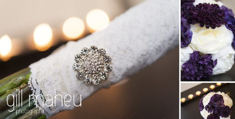 wedding detail bouquet before La Bastille, Grenoble winter wedding by Gill Maheu Photography, photographe de mariage