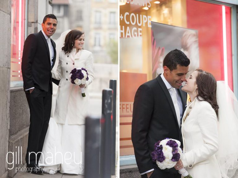 couple portraits in streets in La Bastille, Grenoble winter wedding by Gill Maheu Photography, photographe de mariage
