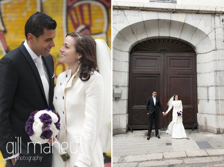 couple portraits of bride and groom in front of street art in La Bastille, Grenoble winter wedding by Gill Maheu Photography, photographe de mariage