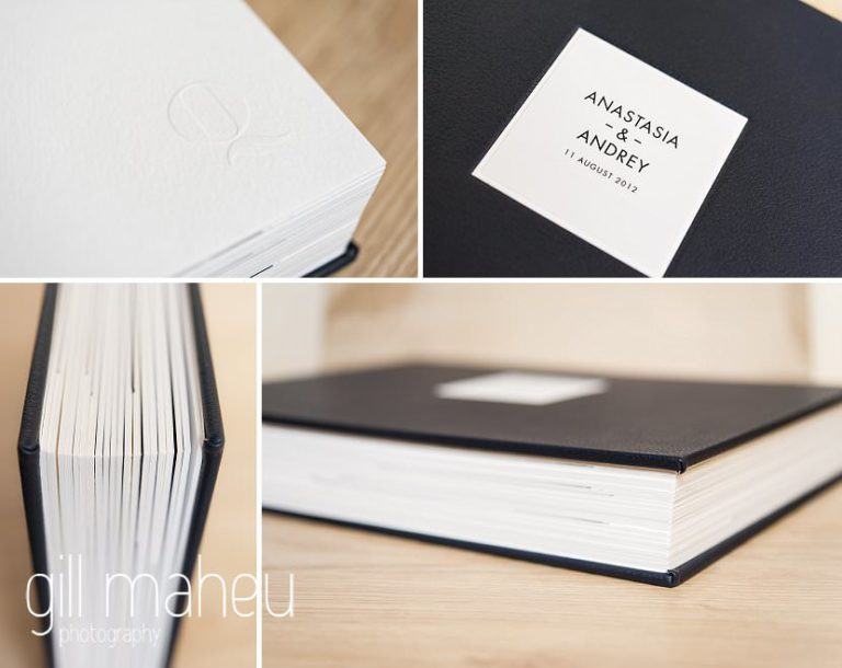cover and thickness Queensberry wedding album details by Gill Maheu Photography, photographe de mariage