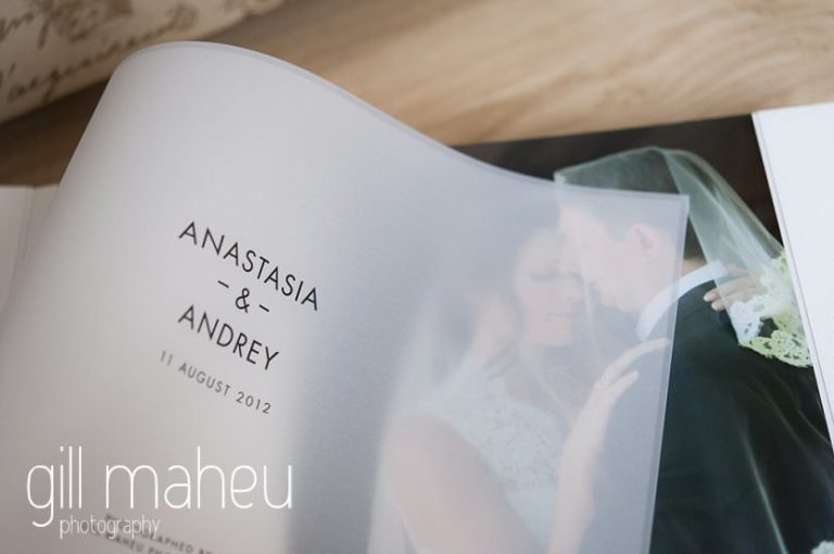 first cover page in Queensberry Duo album of Chateau de Bagnols wedding by Gill Maheu Photography, photographe de mariage