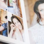 double spread page of bridal preparations in Queensberry Duo album of Chateau de Bagnols wedding by Gill Maheu Photography, photographe de mariage