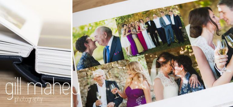 double spread in Queensberry Duo album of Chateau de Bagnols wedding by Gill Maheu Photography, photographe de mariage