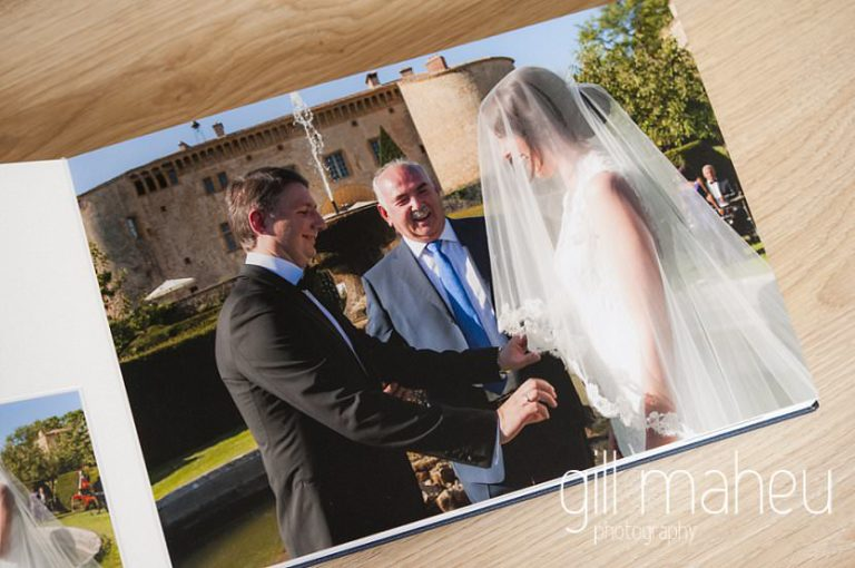 double page spread of wedding ceremony in Queensberry Duo album of Chateau de Bagnols wedding by Gill Maheu Photography, photographe de mariage