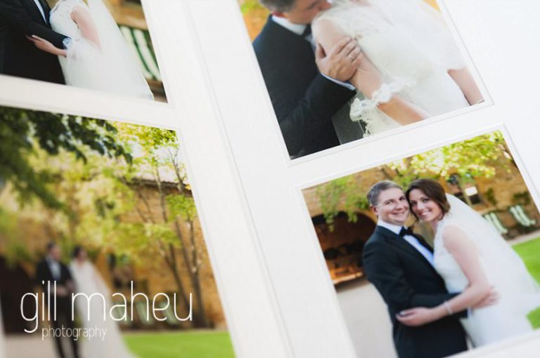 close up detail double page spread in Queensberry Duo album of Chateau de Bagnols wedding by Gill Maheu Photography, photographe de mariage