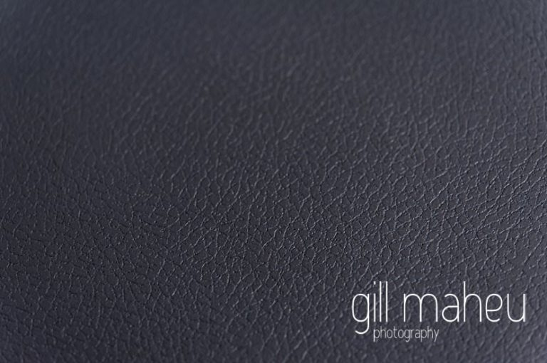 Queensberry wedding album leather black cover details by Gill Maheu Photography, photographe de mariage