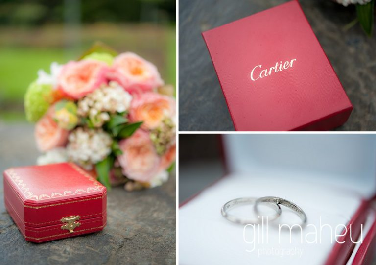 wedding details Cartier rings and bride's rose bouquet in park gardens after civil ceremony at Mairie Parc des Eaux Vives, Geneve by Gill Maheu Photography, photographe de mariage