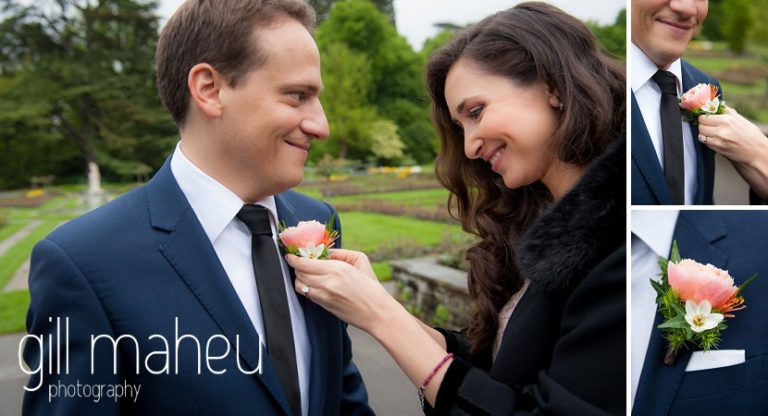 bride fixing groom's button hole in park gardens after civil ceremony at Mairie Parc des Eaux Vives, Geneve by Gill Maheu Photography, photographe de mariage