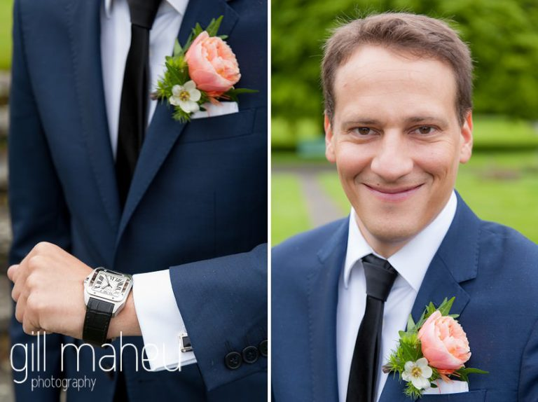 groom portrait and close up of wedding buttonhole in park gardens after civil ceremony at Mairie Parc des Eaux Vives, Geneve by Gill Maheu Photography, photographe de mariage