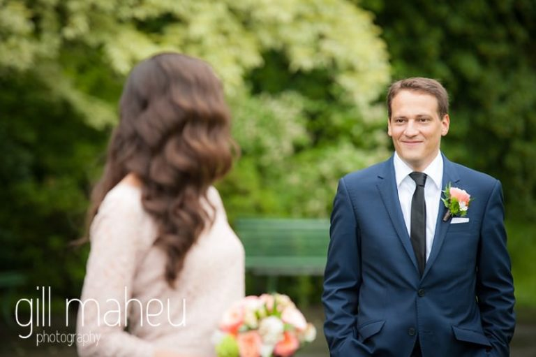 bride portrait with groom in the background in park gardens after civil ceremony at Mairie Parc des Eaux Vives, Geneve by Gill Maheu Photography, photographe de mariage
