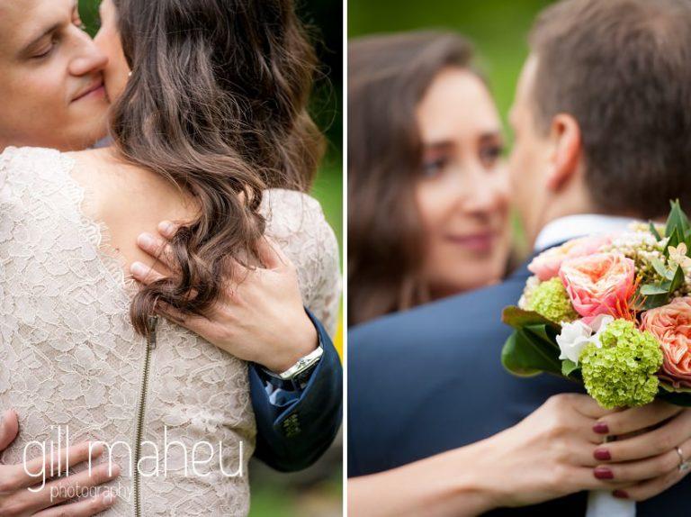 bride portrait peeking over groom's shoulder in park gardens after civil ceremony at Mairie Parc des Eaux Vives, Geneve by Gill Maheu Photography, photographe de mariage