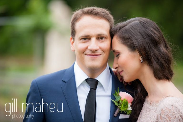 bride and groom portraits in park gardens after civil ceremony at Mairie Parc des Eaux Vives, Geneve by Gill Maheu Photography, photographe de mariage