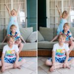 portrait of family of three children at home by Lifestyle photographer Gill Maheu Photography, photographe de famille