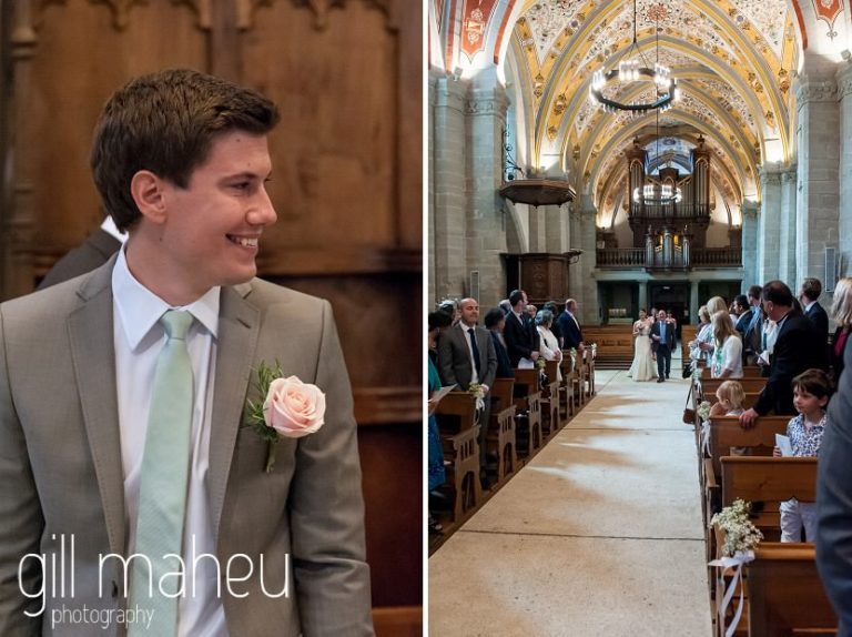 groom watching his bride come down the aisle in Eglise de Lutry church at Chateau de Glerolles wedding by Gill Maheu Photography, photographe de mariage