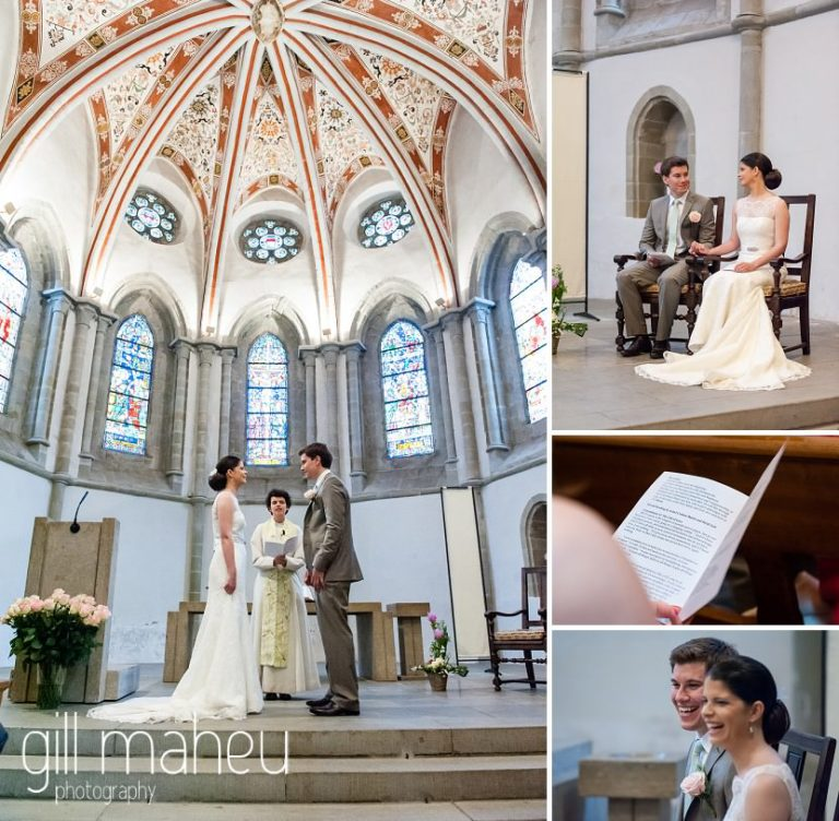 bride and groom exchange vows in Eglise de Lutry church at Chateau de Glerolles wedding by Gill Maheu Photography, photographe de mariage