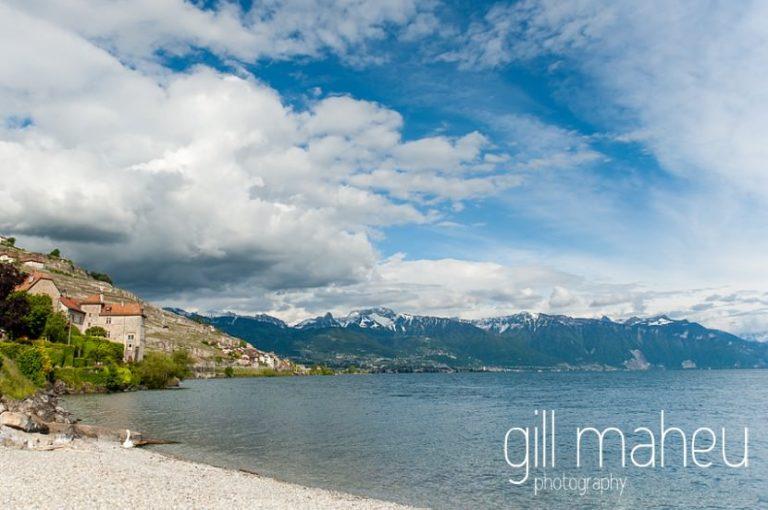 view of lake Geneva at Chateau de Glerolles wedding by Gill Maheu Photography, photographe de mariage