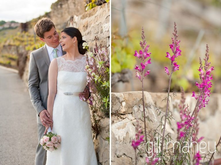 Portrait of bride and groom taken through pink flowers in the vineyards above Chateau de Glerolles wedding by Gill Maheu Photography, photographe de mariage