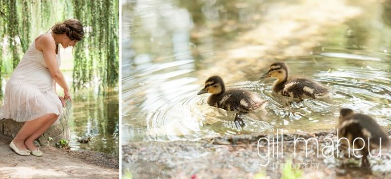 little ducklings starring at maternity session in Parc de la Tete D'or in Lyon, by Gill Maheu Photography, photographe de Grossesse et lifestyle