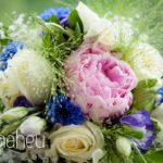 close up deatails of stunning rose and peony wedding bouquet at Abbaye de Talloires, Annecy wedding by Gill Maheu Photography, photographe de mariage