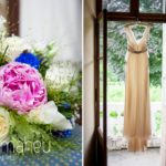 wedding details wedding bouquet and full length photo of Jenny Packham wedding dress at Abbaye de Talloires, Annecy wedding by Gill Maheu Photography, photographe de mariage