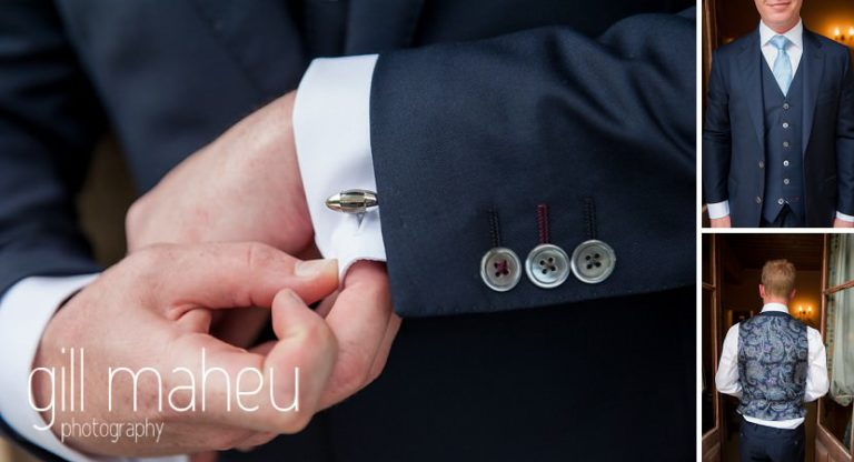 close up detail of groom's cufflinks and waistcoat at Abbaye de Talloires, Annecy wedding by Gill Maheu Photography, photographe de mariage