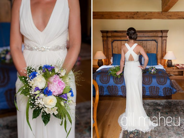 details of beautiful cream Jenny Packham wedding dress at Abbaye de Talloires, Annecy wedding by Gill Maheu Photography, photographe de mariage