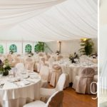 beautiful white wedding marquee set up for wedding dinner at Abbaye de Talloires, Annecy wedding by Gill Maheu Photography, photographe de mariage