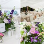 details of tables and flowers in white wedding marquee at Abbaye de Talloires, Annecy wedding by Gill Maheu Photography, photographe de mariage