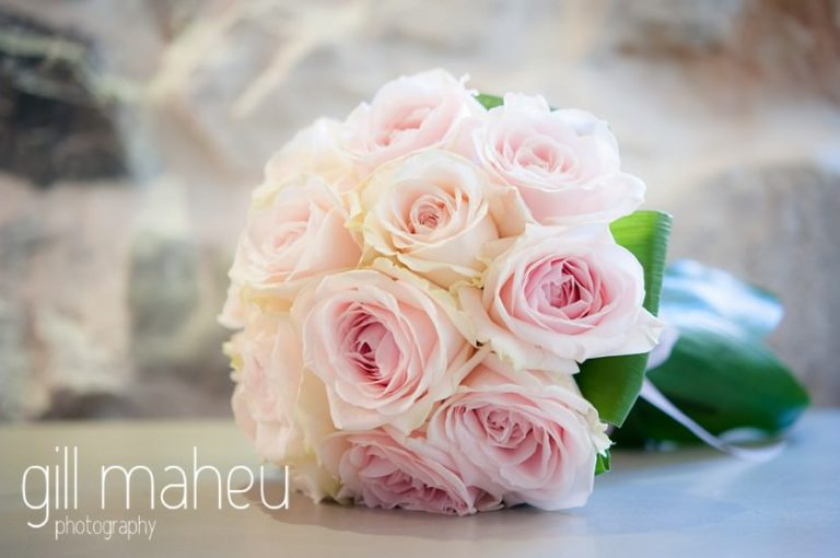 wedding detail of beautiful pink rose bouquet at Hotel Imperial Palace, Annecy wedding by Gill Maheu Photography, photographe de mariage