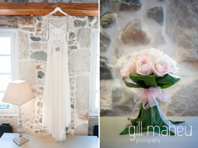 wedding details of pink rose wedding bouquet and 1920 inspired beaded Jenny Packham wedding dress at Hotel Imperial Palace, Annecy wedding by Gill Maheu Photography, photographe de mariage