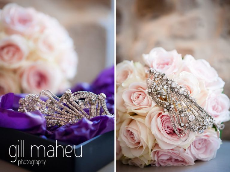 wedding details diamante jewellry and wedding bouquet at Hotel Imperial Palace, Annecy wedding by Gill Maheu Photography, photographe de mariage