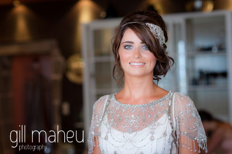 portrait of bride in her beautiful beaded Jenny Packham wedding dress at Hotel Imperial Palace, Annecy wedding by Gill Maheu Photography, photographe de mariage
