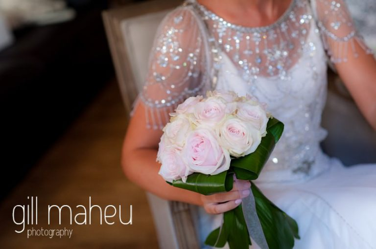 wedding details of bridal bouquet and beaded Jenny Packham wedding dress at Hotel Imperial Palace, Annecy wedding by Gill Maheu Photography, photographe de mariage
