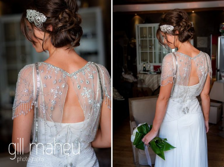 back details of bride in stunning beaded Jenny Packham wedding dress at Hotel Imperial Palace, Annecy wedding by Gill Maheu Photography, photographe de mariage