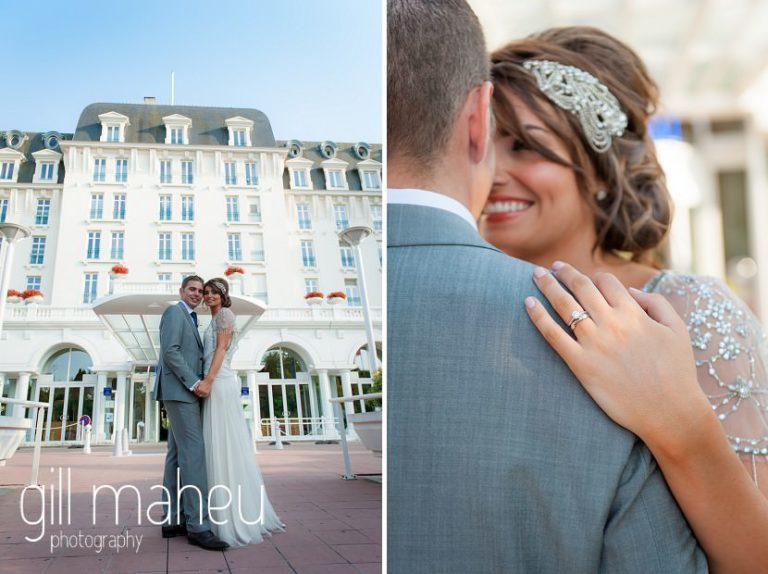 bride and groom kissing in front of Hotel Imperial Palace, Annecy wedding by Gill Maheu Photography, photographe de mariage