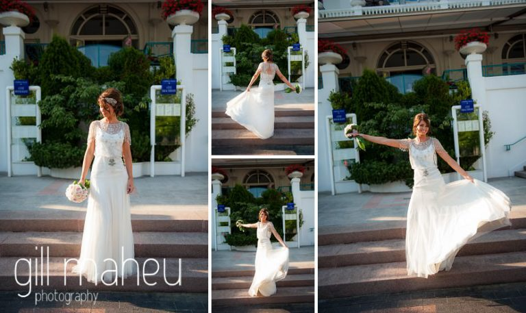 beautiful bride dancing in the sunlight on the steaps of the Hotel Imperial Palace, Annecy wedding by Gill Maheu Photography, photographe de mariage