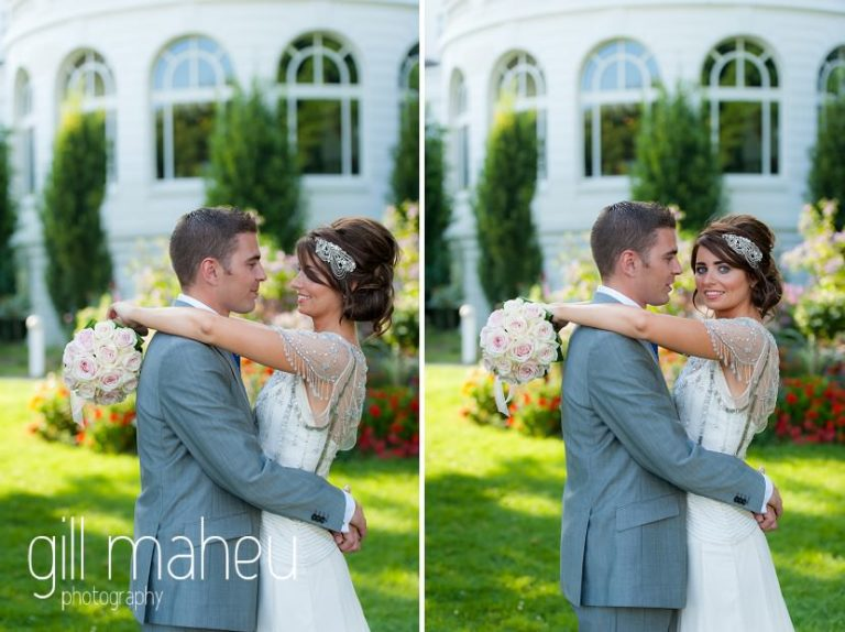 bride and groom embracing in the gardens of the Hotel Imperial Palace, Annecy wedding by Gill Maheu Photography, photographe de mariage