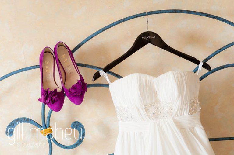 wedding details of Cerise pink Marian wedding shoes and stunning white silke Max Chaoul wedding dress at Nantua, Jura wedding by Gill Maheu Photography, photographe de mariage