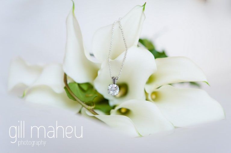 details of white lily wedding bouquet at Nantua, Jura wedding by Gill Maheu Photography, photographe de mariage