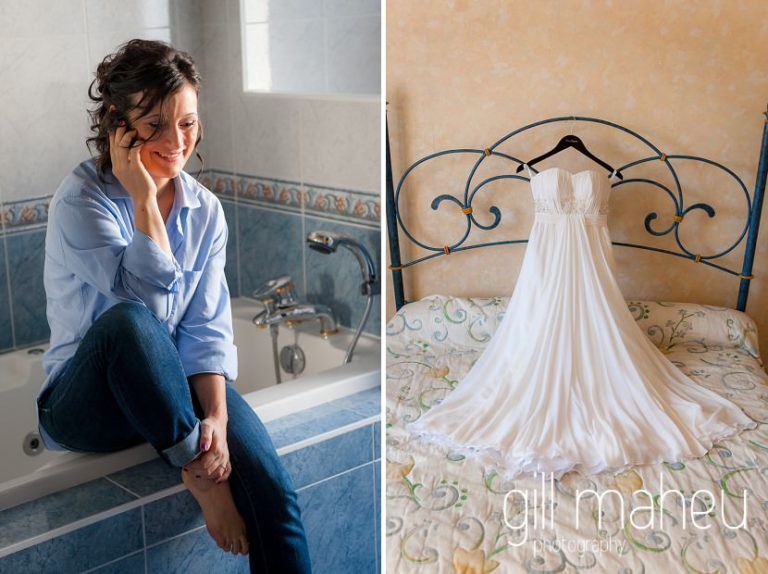 portrait of bride speaking to groom on phone during bridal preparations and full length shot of gorgeous white silk Max Chaoul wedding dress at Nantua, Jura wedding by Gill Maheu Photography, photographe de mariage