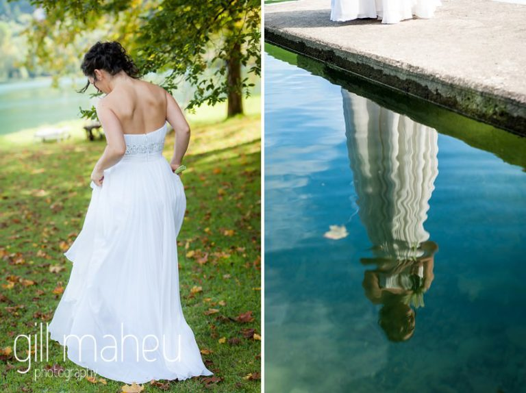 portrait of bride walking away from camera in stunning Max Chaoul wedding dress and reflected in the lake from the jetty at Nantua, Jura wedding by Gill Maheu Photography, photographe de mariage