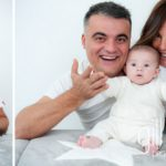 portrait of Dad with baby sitting in front of him at new baby new family portrait session in Aix les Bains by Gill Maheu Photography, photographe de bébé et famille