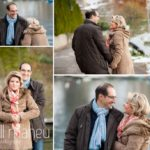 selection of shots of engaged couple embracing in the winter sunshine in Talloires, Annecy by Gill Maheu Photography, photographe de mariage