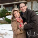 portrait of engaged couple in the snow and winter sunshine in Talloires, Annecy by Gill Maheu Photography, photographe de mariage