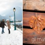 engaged couple walking along the snow covered port of Talloires, Annecy by Gill Maheu Photography, photographe de mariage