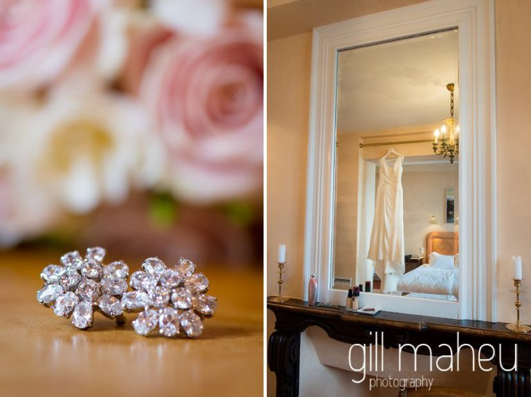 close up details of diamond earrings and beautiful sequinned Pronovias wedding dress in mirror at Abbaye de Talloires, Annecy wedding by Gill Maheu Photography, photographe de mariage
