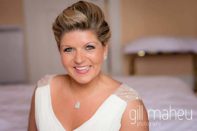bridal portrait at Abbaye de Talloires, Annecy wedding by Gill Maheu Photography, photographe de mariage