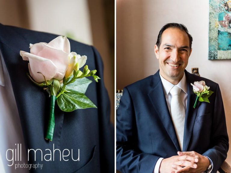 portrait of groom and wedding buttonhole detail at Abbaye de Talloires, Annecy wedding by Gill Maheu Photography, photographe de mariage