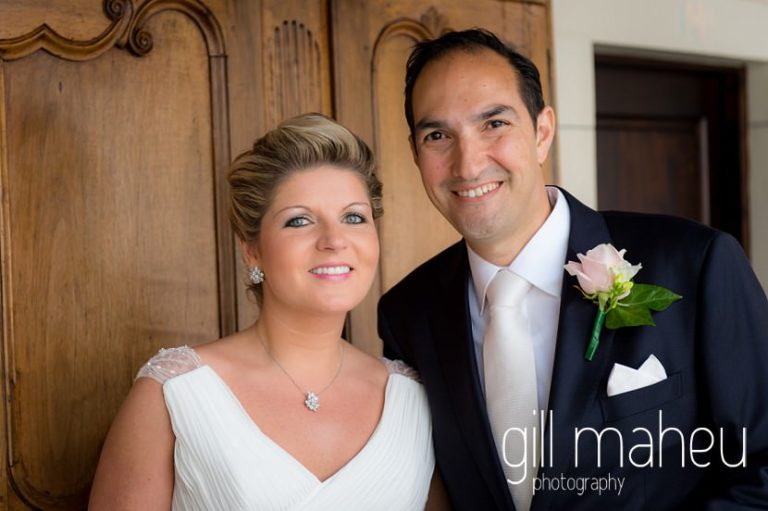 portrait of very happy bride and groom at Abbaye de Talloires, Annecy wedding by Gill Maheu Photography, photographe de mariage